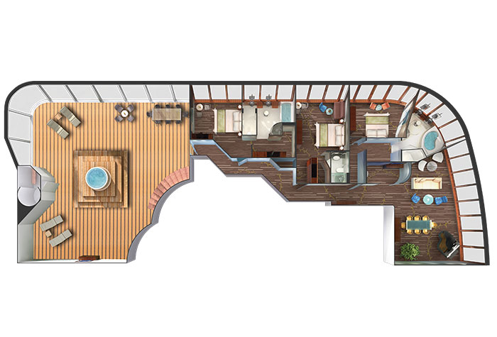 Floor plan of Garden Villa on Norwegian Dawn