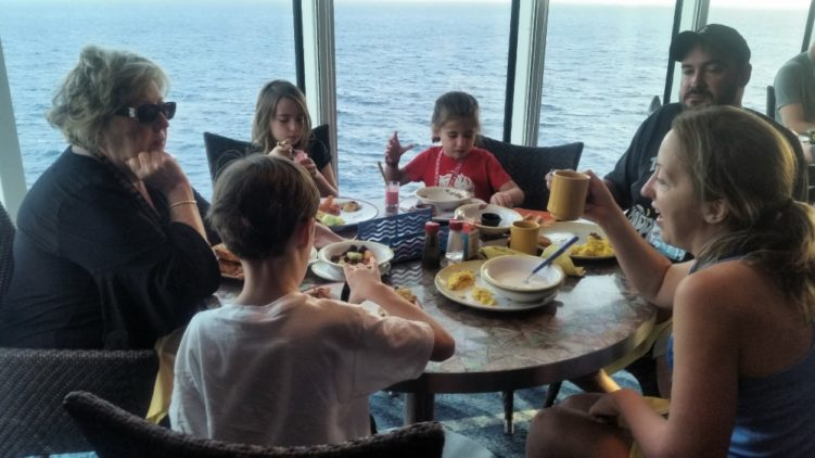 family eating on a cruise ship
